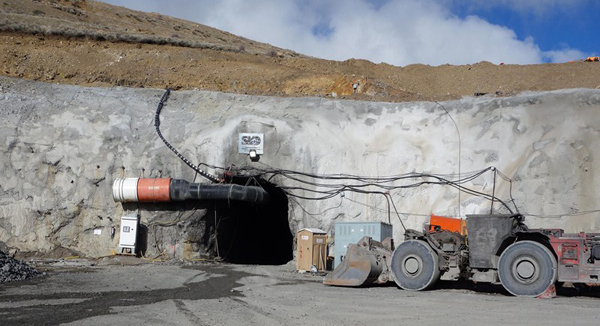 The Jerritt Canyon mineralization is Carlin style. Most of the ore comes from the Steel, Saval and Smith deposits near Elko, Nevada. The picture shows the portal to the new Starvation Canyon deposit, which is 10 km SW of the other deposits, and is just being developed. (Photo by Sprott Assett Management)